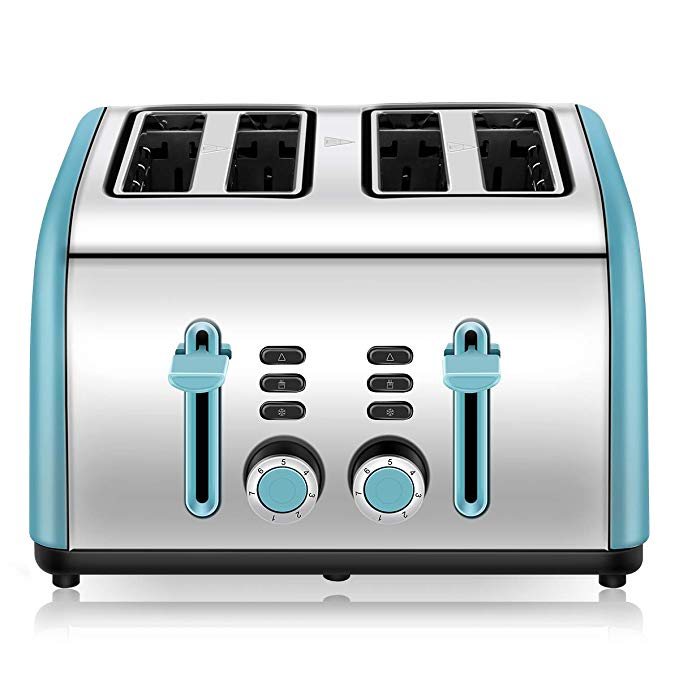 An image related to Chitomax 1400W Stainless Steel 4-Slice Blue 7-Mode Cool Touch Wide Slot Toaster