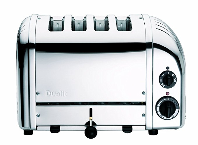 An image of Dualit Stainless Steel 4-Slice Classic Chrome Compact Wide Slot Toaster