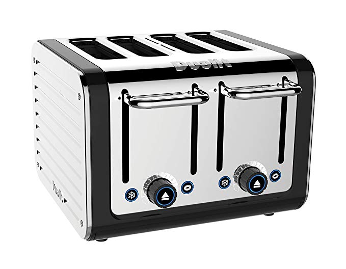 An image of Dualit Stainless Steel 4-Slice Black Wide Slot Toaster