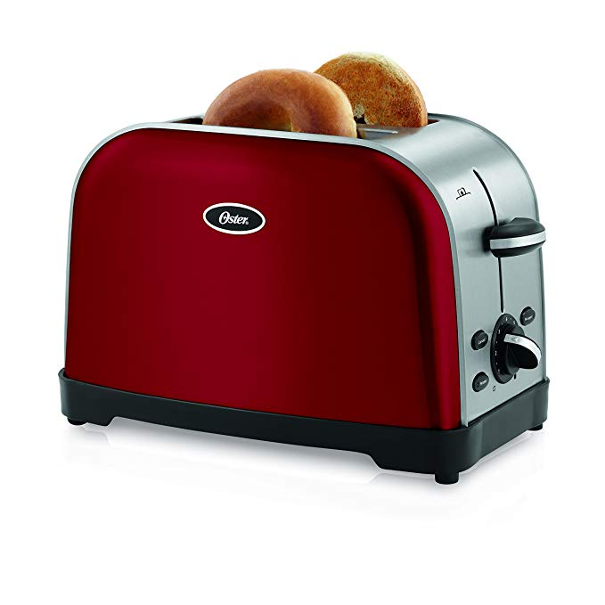 An image of Oster 2-Slice Red 7-Mode Compact Wide Slot Toaster