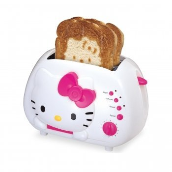 An image of Hello Kitty 2-Slice White and Pink 7-Mode Cool Touch Wide Slot Toaster | The Top Toasters