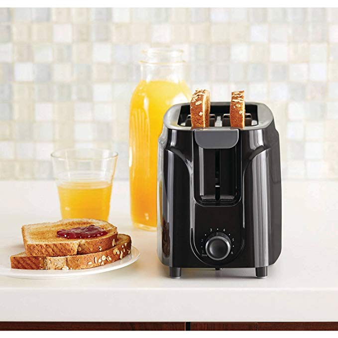 An image of Mainstays 750W 2-Slice Black 6-Mode Toaster