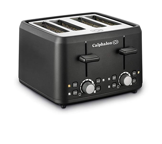 An image of Calphalon 4-Slice Black Cool Touch Wide Slot Toaster | The Top Toasters