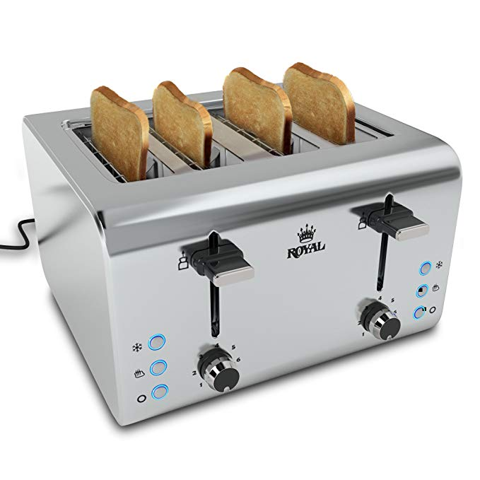 An image of Royal 850W Stainless Steel 4-Slice 7-Mode Cool Touch Wide Slot Toaster