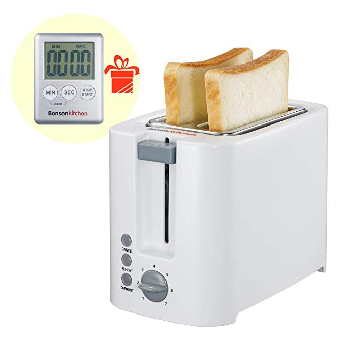 An image related to Bonsenkitchen 2-Slice White 7-Mode Compact Cool Touch Toaster