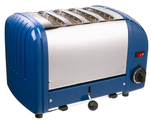 An image related to Dualit Stainless Steel 4-Slice Classic Blue Wide Slot Toaster