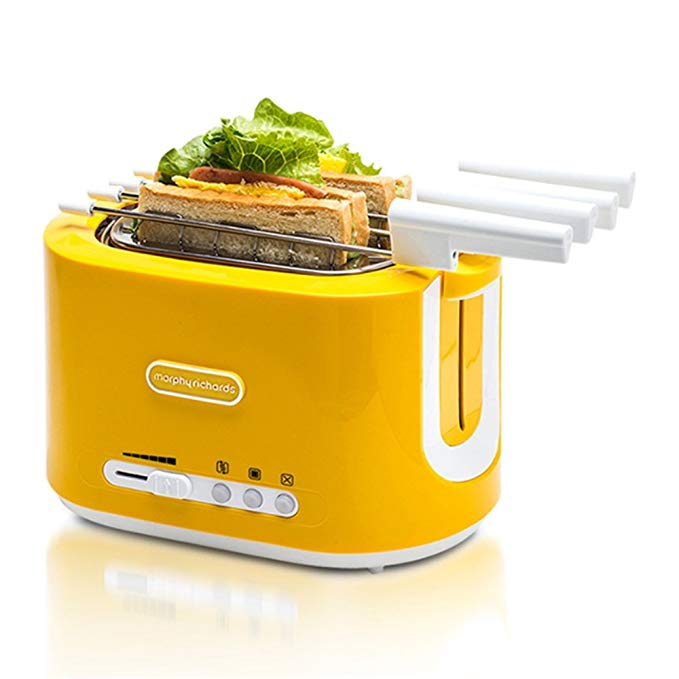 An image related to Morphy Richards 800W Stainless Steel 2-Slice Yellow 6-Mode Wide Slot Toaster
