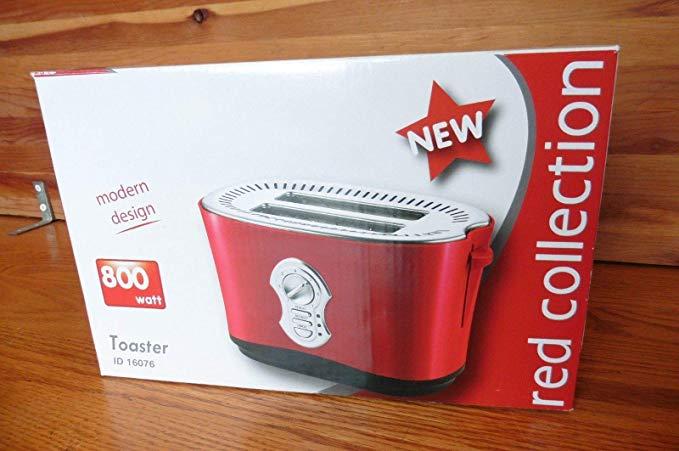 An image of Intertek 800W Modern Red 7-Mode Long Slot Toaster