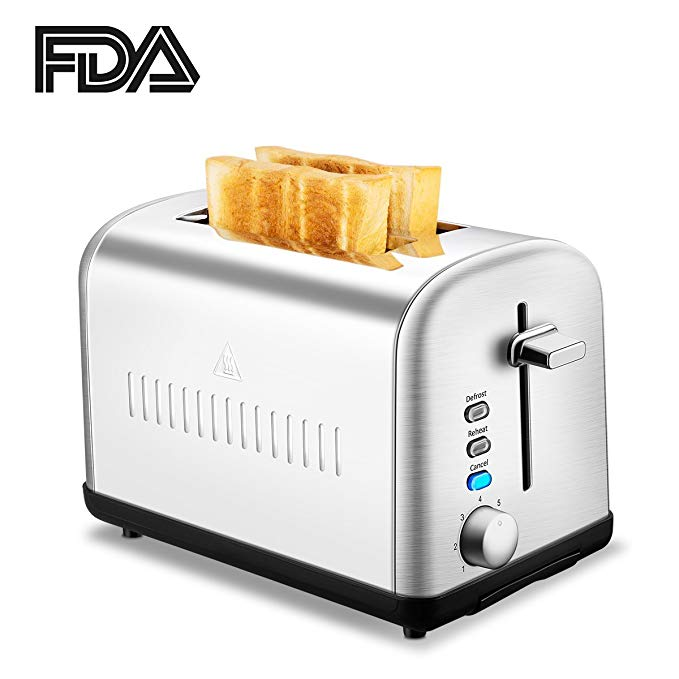 An image of Chitomax 750W Stainless Steel 2-Slice Silver 7-Mode Compact Cool Touch Wide Slot Toaster | The Top Toasters