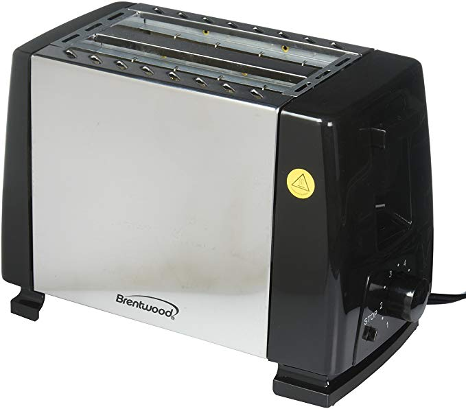 An image of Brentwood Stainless Steel 2-Slice Black Wide Slot Toaster