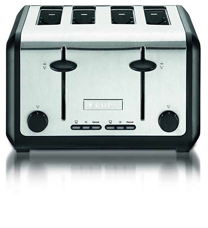 An image of Krups 1800W Stainless Steel 4-Slice Silver Cool Touch Toaster