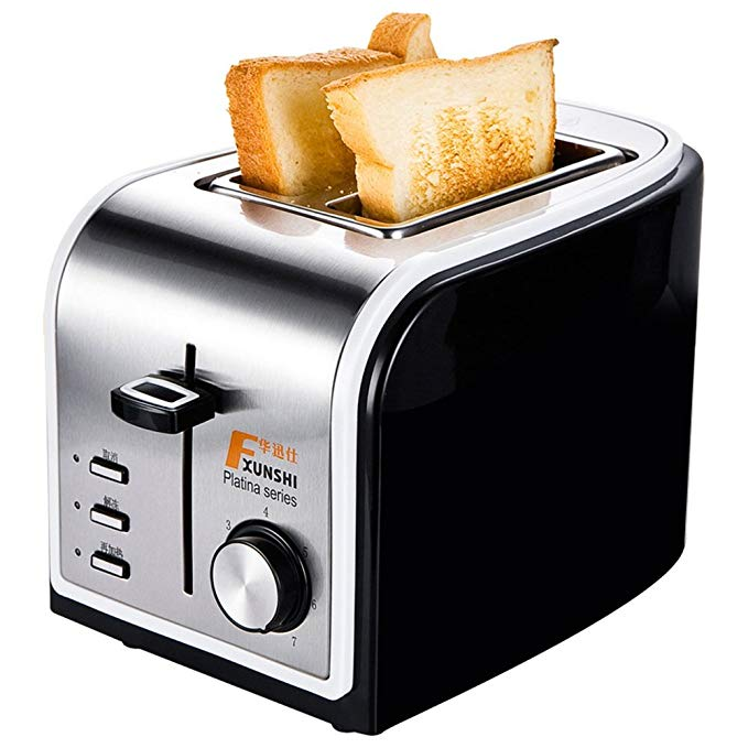 An image of Xunshi 800W Stainless Steel 2-Slice Silver and Black 7-Mode Wide Slot Toaster
