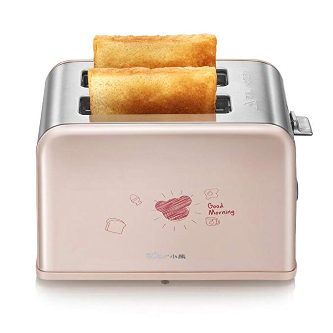 An image of BEAR 750W Stainless Steel 2-Slice Pink Wide Slot Toaster | The Top Toasters