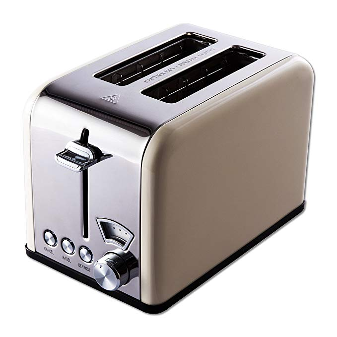 An image of Gohyo 825W Stainless Steel 2-Slice Beige 6-Mode Wide Slot Toaster