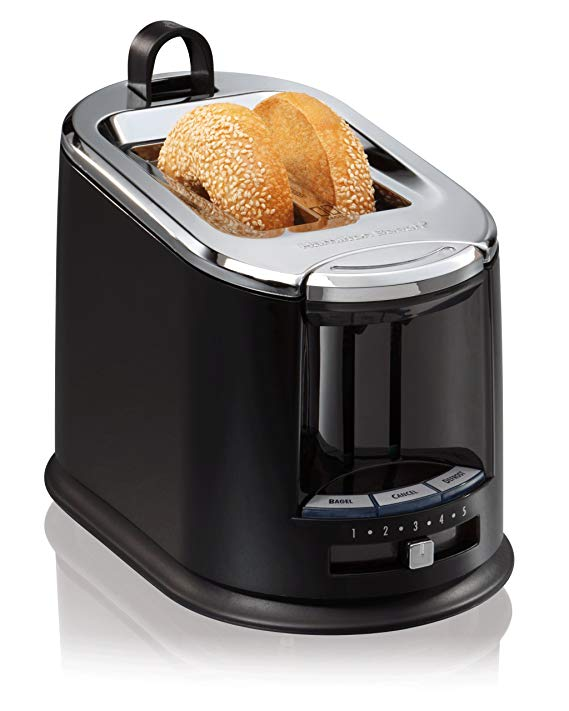 An image of Hamilton Beach 22323 2-Slice Black Cool Touch Wide Slot Toaster