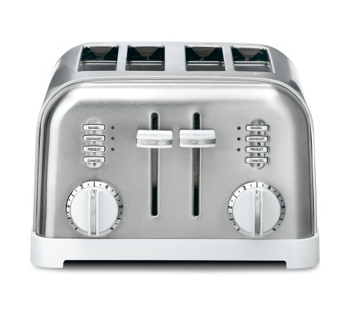 An image of Cuisinart CPT-180W Stainless Steel 4-Slice Classic Silver 6-Mode Compact Wide Slot Toaster | The Top Toasters