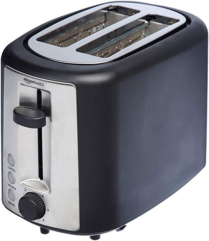 An image of AmazonBasics 2-Slice 6-Mode Wide Slot Toaster