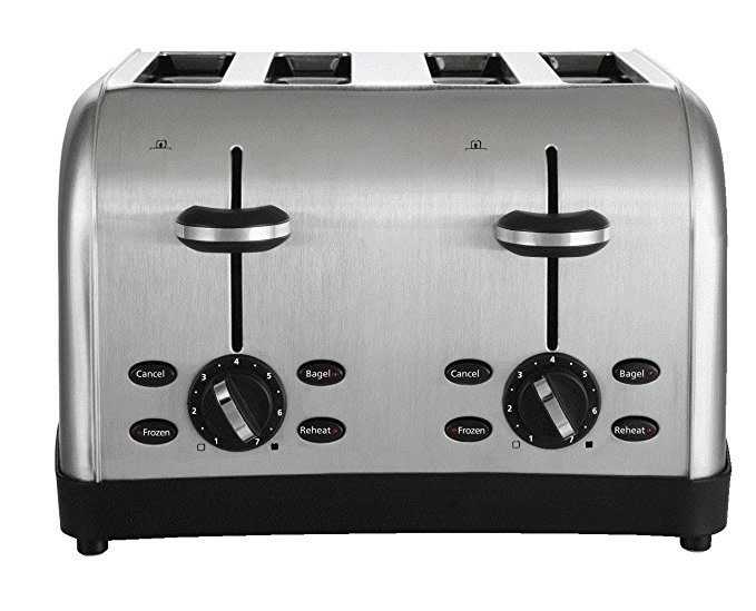An image of Oster Stainless Steel 4-Slice Metal 7-Mode Compact Wide Slot Toaster