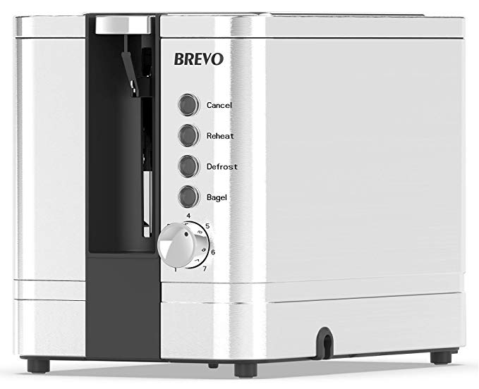 An image of BREVO 850W Stainless Steel 2-Slice 7-Mode Compact Wide Slot Toaster | The Top Toasters