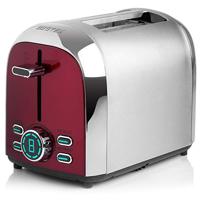 An image related to BESTEK Stainless Steel 2-Slice 4-Mode Wide Slot Toaster