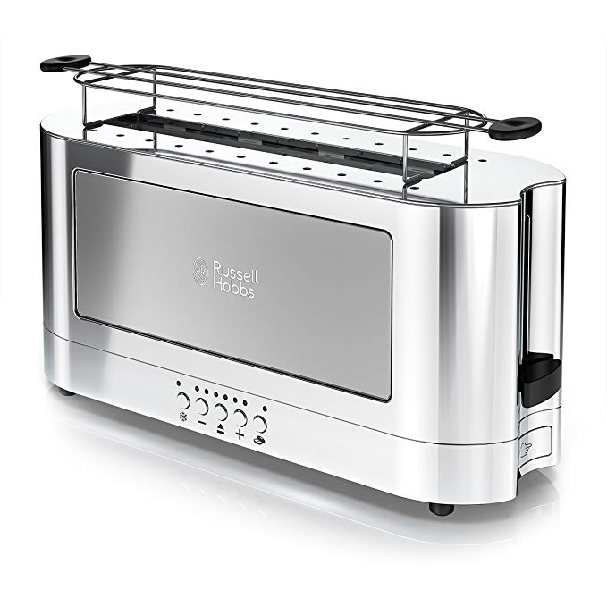 An image of Russell Hobbs 1200W Stainless Steel 2-Slice Modern Silver 6-Mode Long Slot Toaster