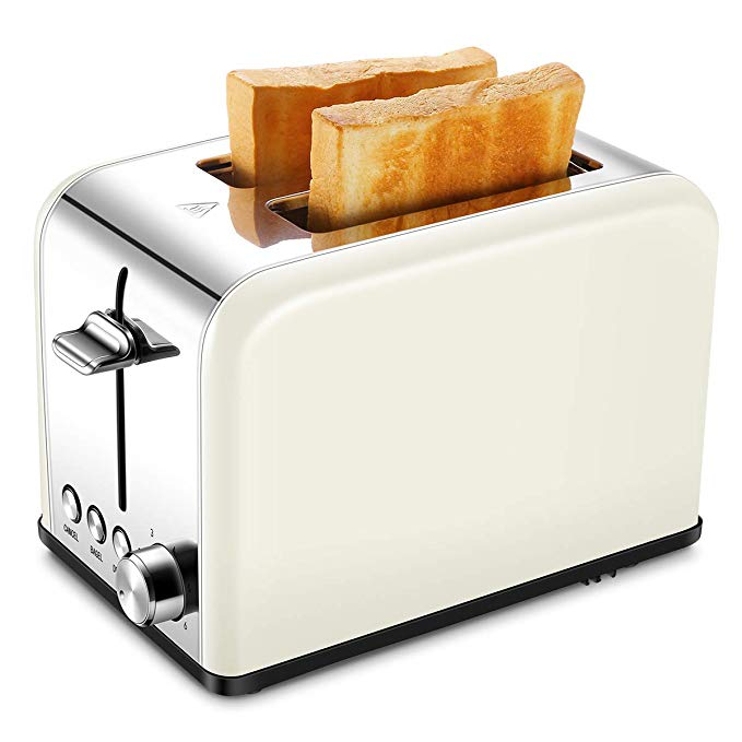 An image of Keemo Stainless Steel 2-Slice Cream 6-Mode Compact Wide Slot Toaster