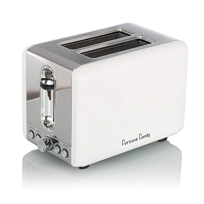An image of Fortune Candy Stainless Steel 2-Slice White Wide Slot Toaster