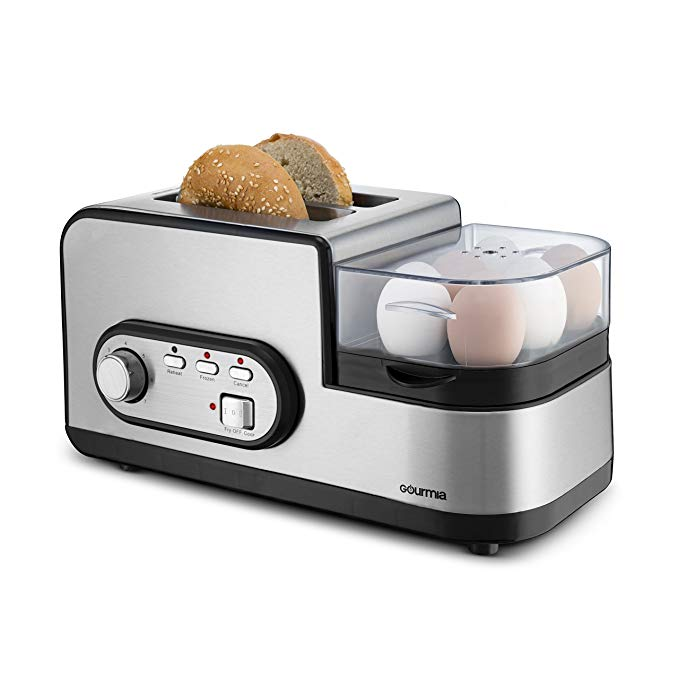 An image of Gourmia Stainless Steel 2-Slice Modern Black 7-Mode Compact Wide Slot Toaster