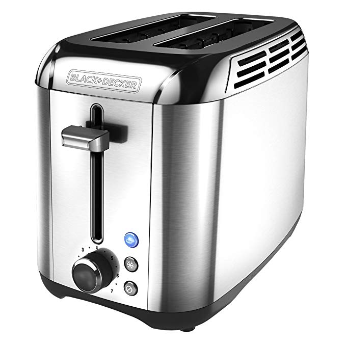An image of BLACK+DECKER Stainless Steel 2-Slice Silver Wide Slot Toaster