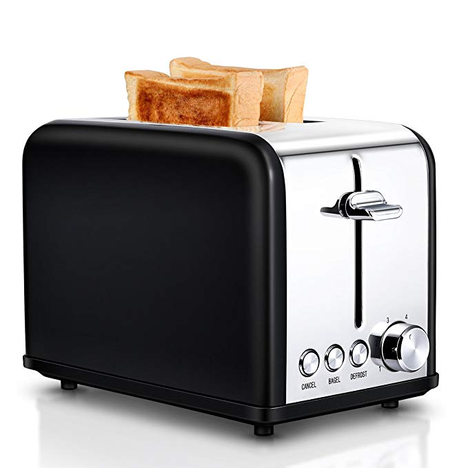 An image of Keemo 825W Stainless Steel 2-Slice Black 6-Mode Compact Wide Slot Toaster