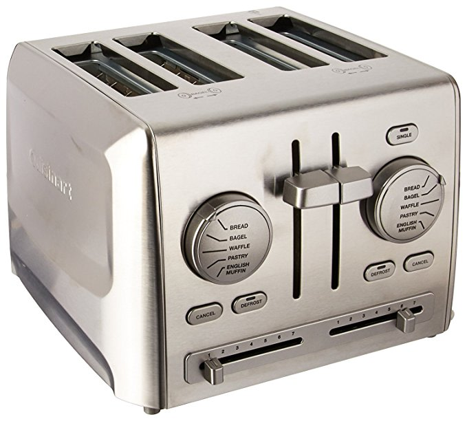 An image of Cuisinart Stainless Steel 4-Slice Modern Metal 7-Mode Compact Wide Slot Toaster