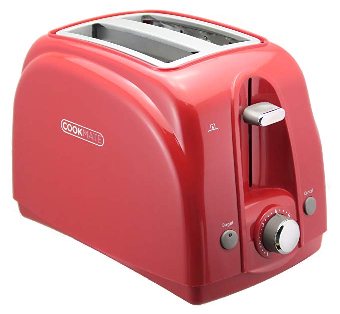 An image of Cookmate 750W 2-Slice Classic Red 7-Mode Wide Slot Toaster
