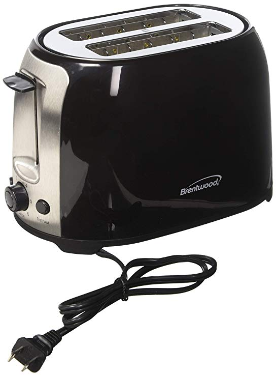 An image of Brentwood TS-292B 800W Stainless Steel 2-Slice Black 7-Mode Cool Touch Wide Slot Toaster