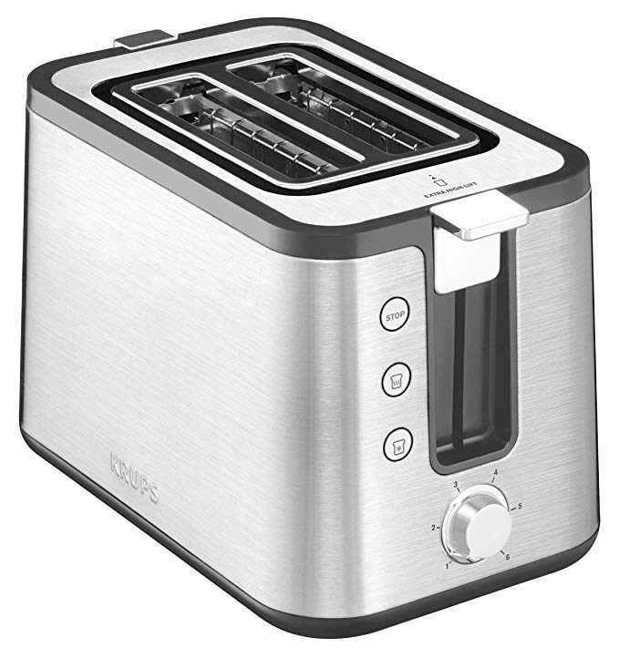 An image of Krups Stainless Steel 2-Slice Modern Silver 6-Mode Compact Wide Slot Toaster
