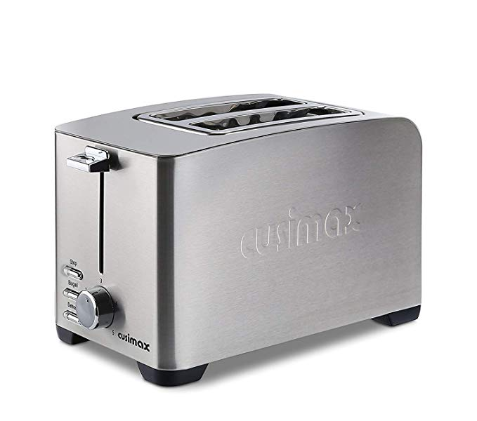 An image related to CUSIMAX 850W Stainless Steel 2-Slice Silver 5-Mode Wide Slot Toaster