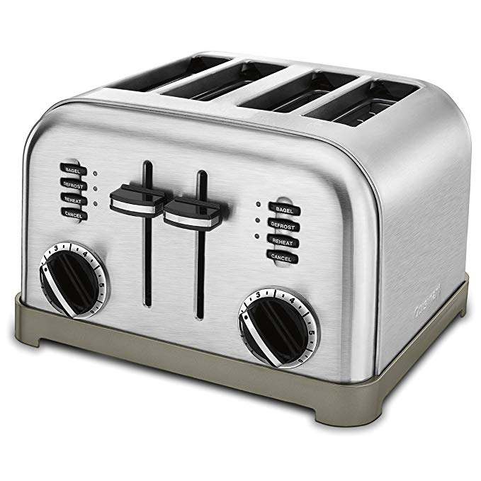An image of Cuisinart CPT-180 Stainless Steel 4-Slice Classic Silver and Black 6-Mode Compact Wide Slot Toaster