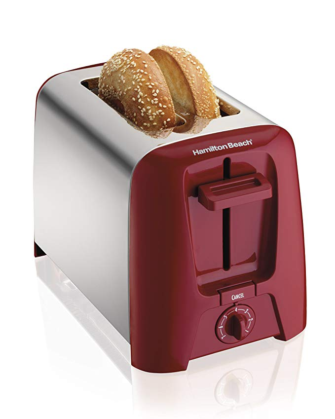 An image of Hamilton Beach 2-Slice Red Compact Cool Touch Wide Slot Toaster