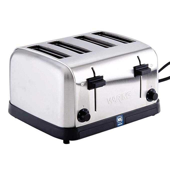 An image of Waring WCT708 1800W Stainless Steel 4-Slice Silver Wide Slot Toaster