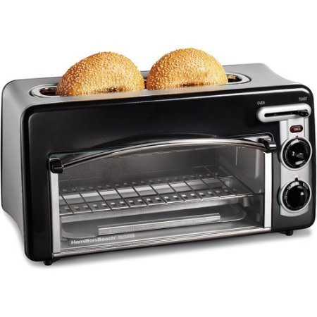 An image of Hamilton Beach 2-Slice Black Compact Wide Slot Toaster