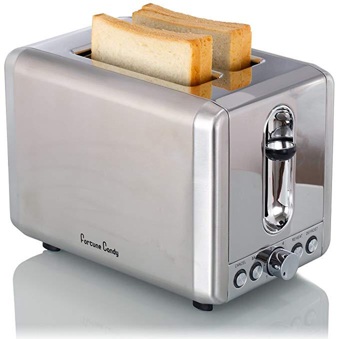 An image of Fortune Candy Stainless Steel 2-Slice Modern Metal Wide Slot Toaster