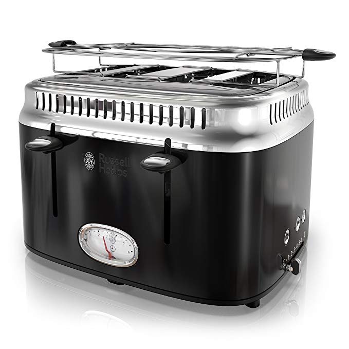 An image of Russell Hobbs 1500W Stainless Steel 4-Slice Classic Black 6-Mode Cool Touch Wide Slot Toaster | The Top Toasters