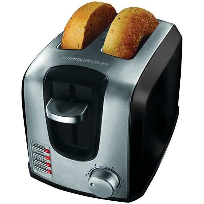 An image of BLACK+DECKER T2707SB 2-Slice Black 6-Mode Wide Slot Toaster