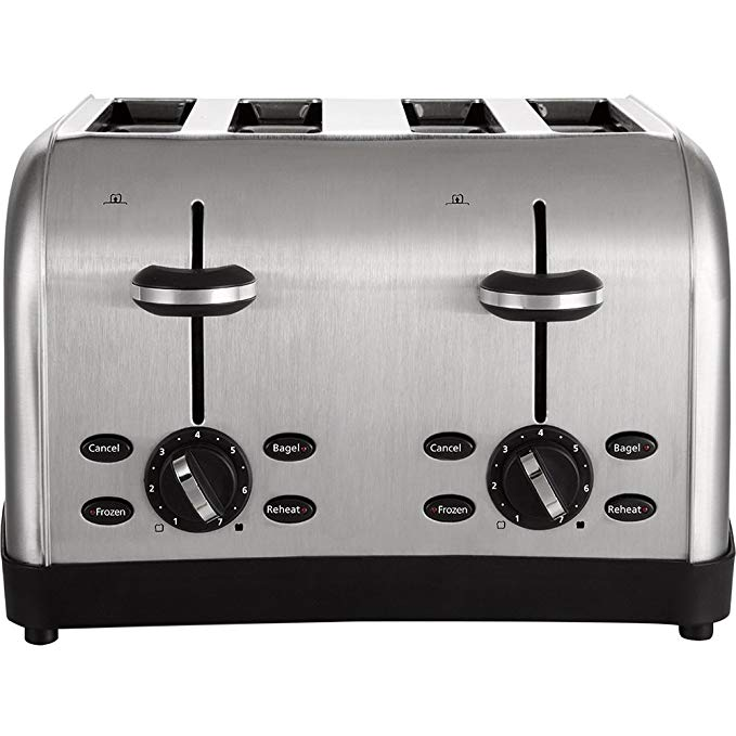 An image of Oster CKSTDFZM53 Stainless Steel 4-Slice Silver 7-Mode Wide Slot Toaster