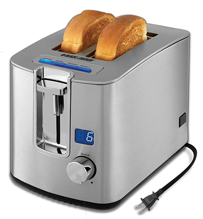 An image of BLACK+DECKER Stainless Steel 2-Slice Classic Silver Wide Slot Toaster