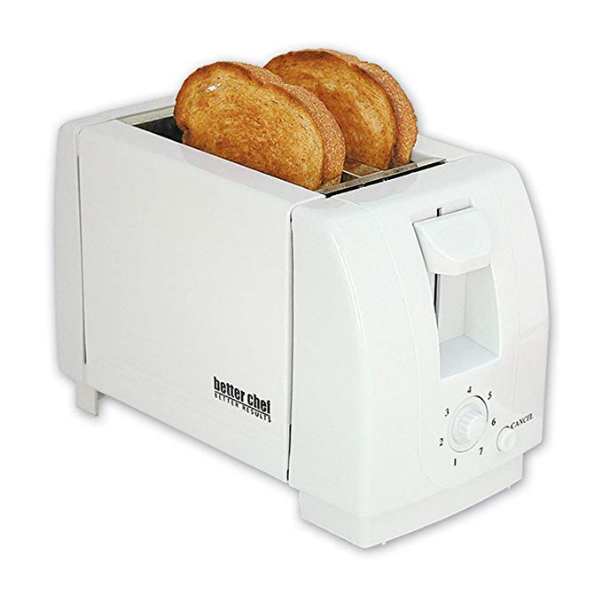 An image of Better Chef 2-Slice White 7-Mode Wide Slot Toaster