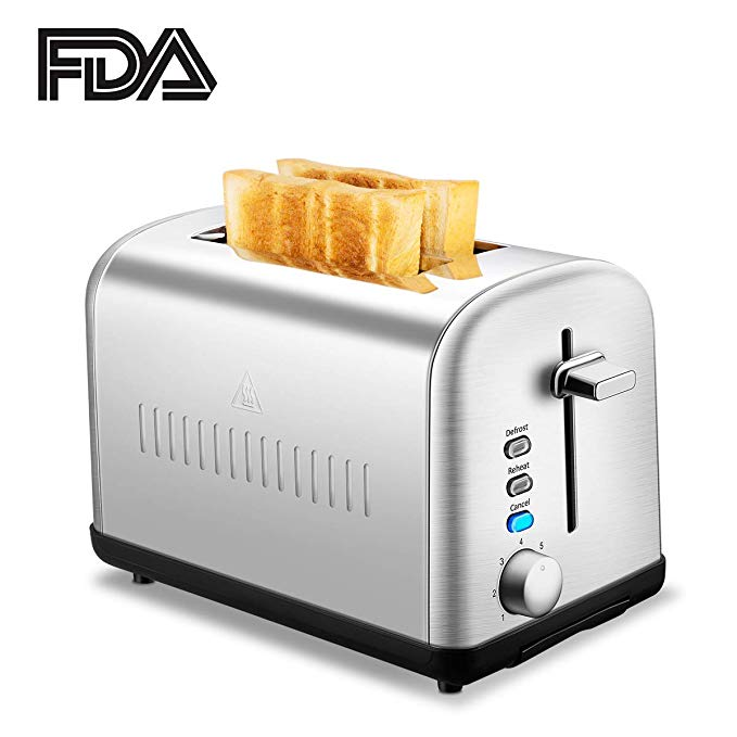 An image related to Chitomax 850W Stainless Steel 2-Slice Silver 7-Mode Compact Cool Touch Wide Slot Toaster