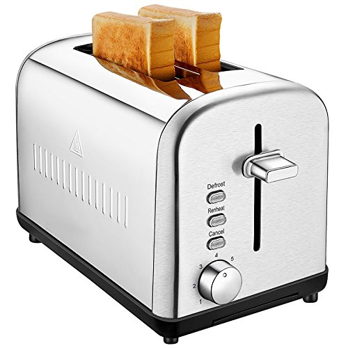 An image of ToBox 850W Stainless Steel 2-Slice Classic Silver 7-Mode Compact Cool Touch Wide Slot Toaster