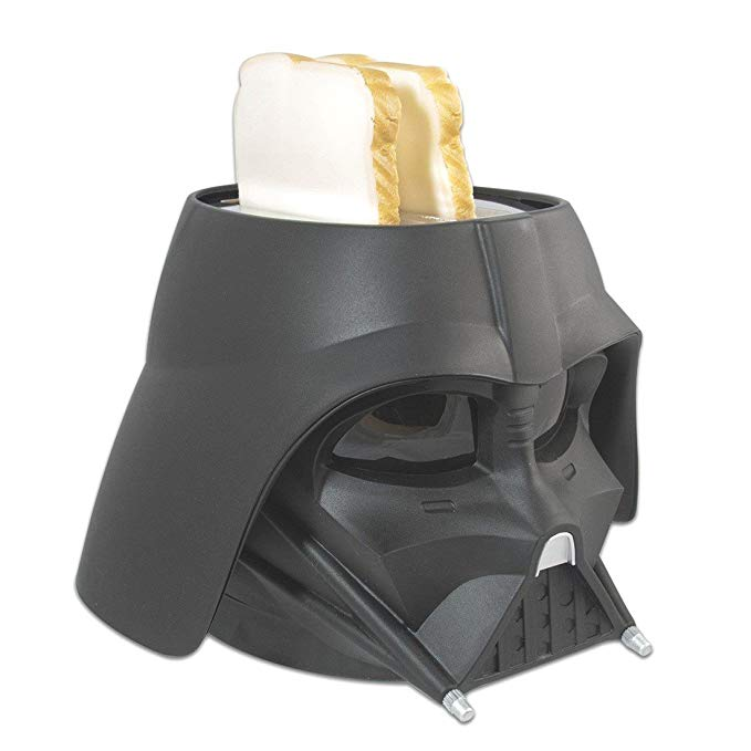 An image of Uncanny Brands 680W Plastic Darth Vader 2-Slice Black Compact Cool Touch Wide Slot Toaster