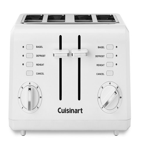 An image of Cuisinart 4-Slice White 9-Mode Compact Cool Touch Wide Slot Toaster