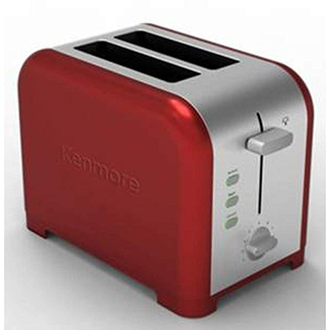 An image of Kenmore Stainless Steel 2-Slice Red Wide Slot Toaster